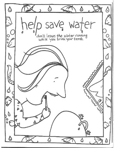 save water coloring page for kids free printable picture