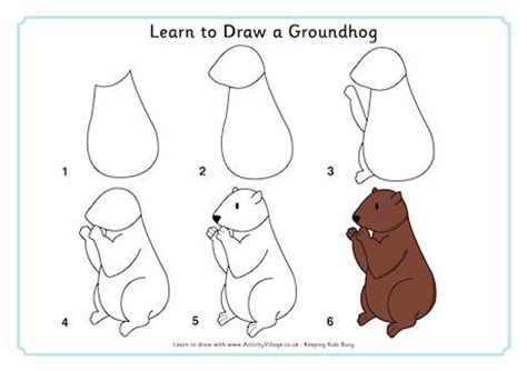 groundhog day that step learn to draw a groundhog this doesn t look that easy