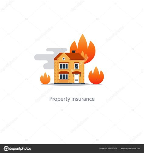 house fire insurance burning building fire insurance safety concept house icon stock vector