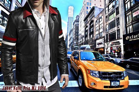 Jaket Kulit Pria Warna Putih jaket kulit kerah merah mj 0016 putih model terbaru