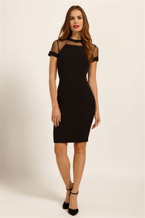 black sleeve mesh panel detail bodycon dress