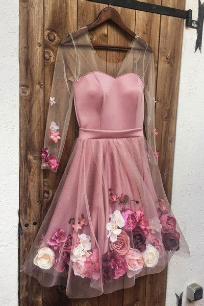 pink party dress transparent long sleeve evening dress