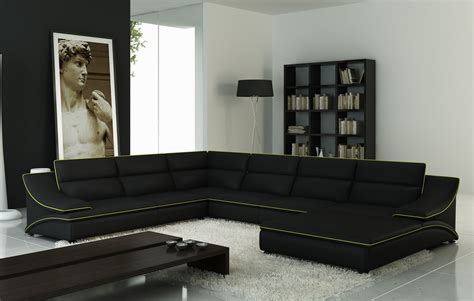 Sectional Sofas by Divani Casa 5076 Black Leather Sectional Sofa