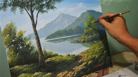 acrylic paint landscape acrylic landscape painting lesson morning in lake by