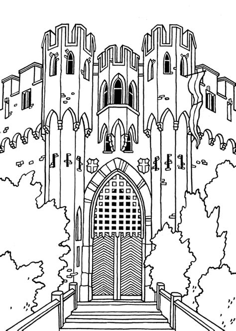 german castle coloring page coloriage medieval chateaux villes villages on