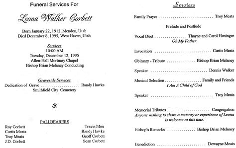 lds funeral program template funeral memorial service program baptism program lds