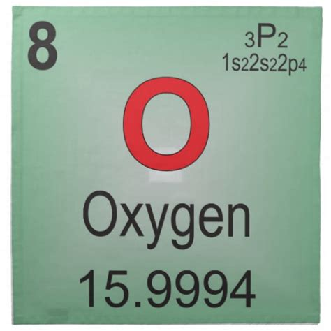 oxygen individual element of the periodic table napkin