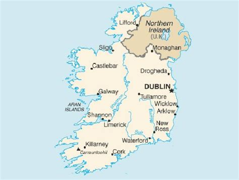 map of ireland with major cities northern ireland map