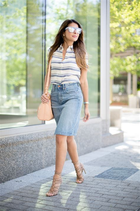style denim skirt outfits style wile
