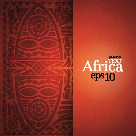 african style elements background vector set  vector