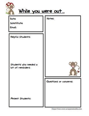 Best 25 Substitute Teacher Forms Ideas On Pinterest Substitute Report Template