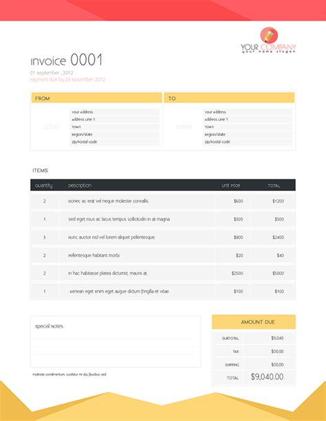 free flat template flat invoice template