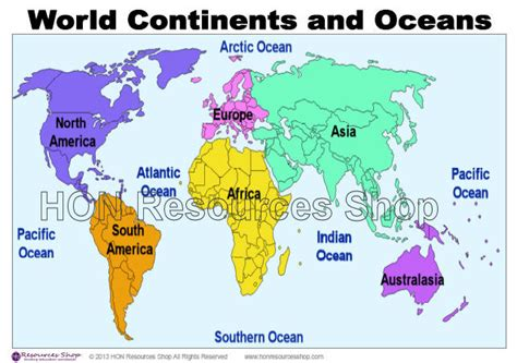 printable world map continents and oceans world continents and oceans map printable by honresourcesshop
