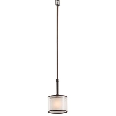 Mission Pendant Light Shop Kichler 6 In Mission Bronze Hardwired Mini Etched Glass Drum Pendant At Lowes
