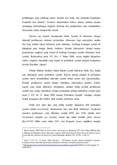 Aspek Hukum Pembiayaan Murabahah Pada Perbankan Syariah urgensi hukum jaminan syariah dalam transaksi akad