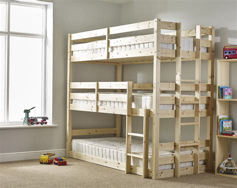 3 Level Bunk Bed Pandora 3ft Single 3 Tier Heavy Duty Solid Pine High Sleeper Bunk Bed