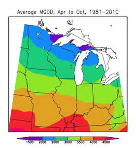 Average number of modified growing degree days for the midwest region