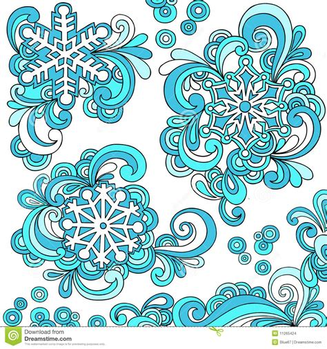 how to make doodle vector snowflakes and swirls doodle vector stock vector image