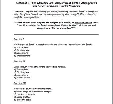Chapter 6 Humans In The Biosphere Section Review 6 1 by Section 1 4 Quot The Structure Of The Earth S Atmosphere Quot