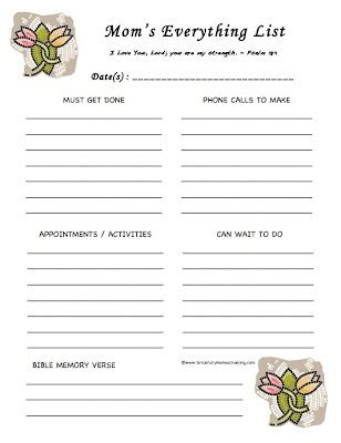 free printable to do list for moms 1000 images about mom organizational binder on pinterest