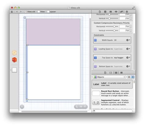 xcode autolayout pin objective c centering view between neighbors using