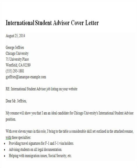international student advisor cover letter 6 sle academic advisor cover letter free sle