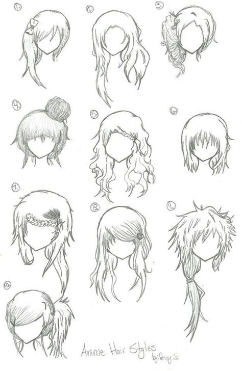 manga hairstyle short long front sides hairstyles anime manga drawing art bun curly