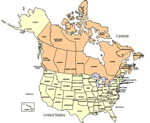 usa and canada combo powerpoint map editable states