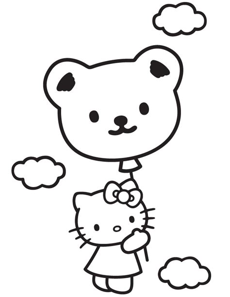 hello kitty balloons coloring pages hello kitty in sky with teddy bear balloon coloring page