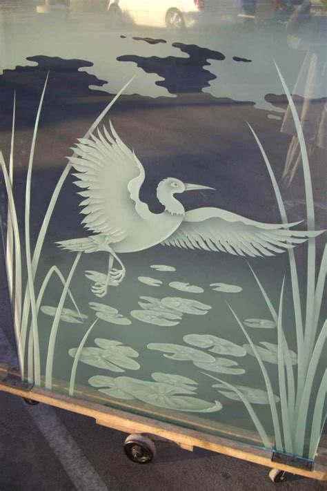 dancing egret glass shower etched glass asian style