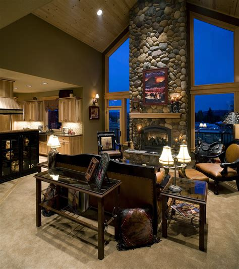 gorgeous river rock fireplace wall  large windows