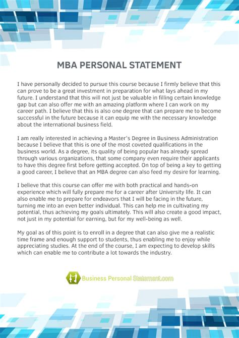 Personal Statement For Mba Course mba personal statement sle