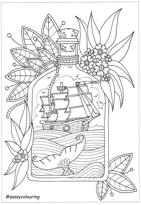 dessin bateau bouteille bouteille et bateau coloriage adulte pinterest