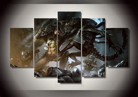 5 panels vs predator canvas paintings home decor vintage wall picture for living room