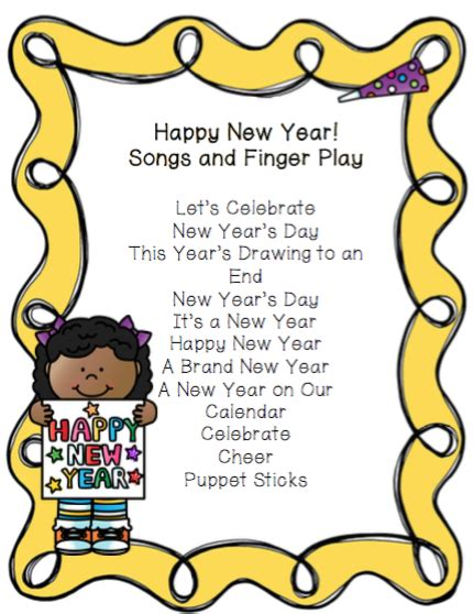one fm new year song list happy new year songs and finger play preschool printables