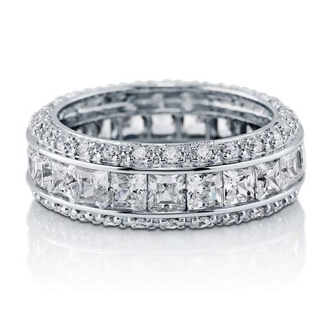 berricle sterling silver channel set cz eternity band ring 4 35 carat ebay