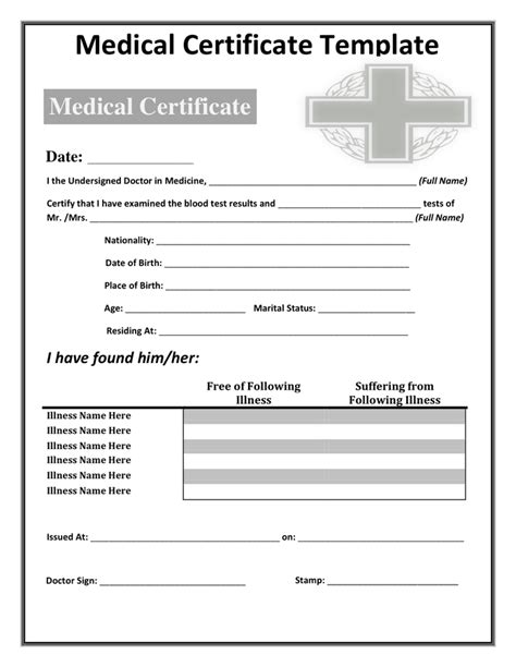 Medical Certificate Template in Word and Pdf formats