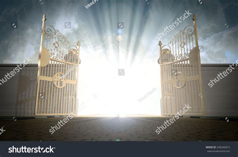 a depiction of the pearly gates of heaven open with the