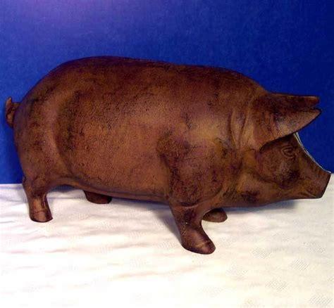 pig piggy bank large rust pig piggy bank door stop garden cast iron ebay