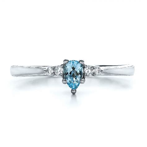 custom engraved aquamarine and engagement