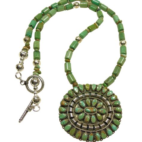 green turquoise and sterling silver necklace from