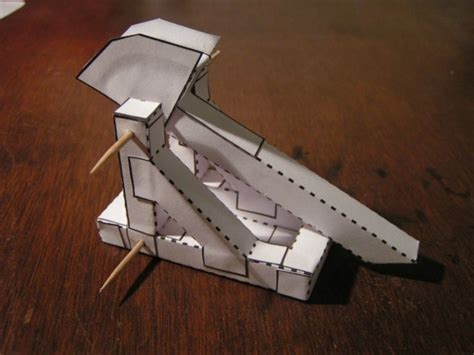 How To Make A Paper Trebuchet - print and fold paper trebuchet do it projects plans
