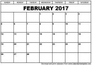 templates for calendar february 2017 calendar template