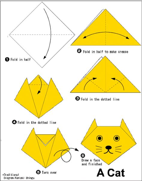 Origami Tiger Diagram - cat easy origami for
