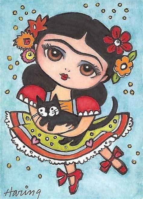 imagenes de frida kahlo kawaii frida dances with kitty fridas pinterest folk art