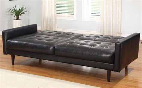 Living Room Sofa Bench Tufted Leather Sleeper Sofa Bench Seat With Black Color