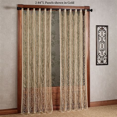 panels curtains sorrento ii gold string lace curtain panels