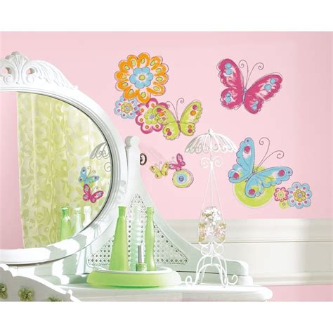 butterfly wall stickers for bedrooms new butterflies flowers wall decals girls butterfly room