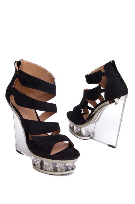 naya05 lucite heel wedge sandal in black lyst