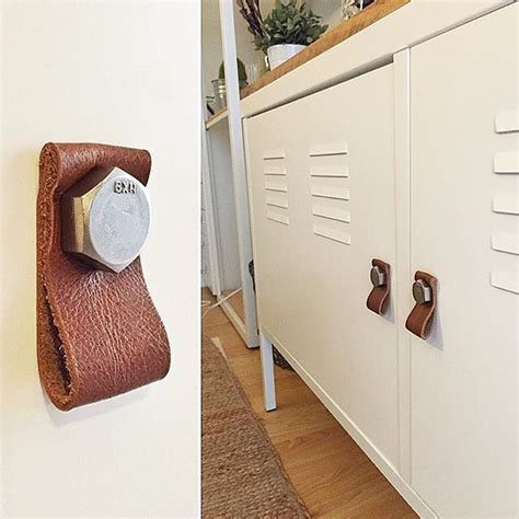 how to add leather pulls to the ikea brimnes ikea grizzpiece added handles for the ikea ps cabinet using
